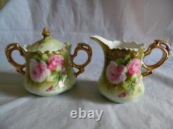 Lefton Green Heritage Rose Porcelain Coffee Tea Set Biscuit Jar Tiered Plate