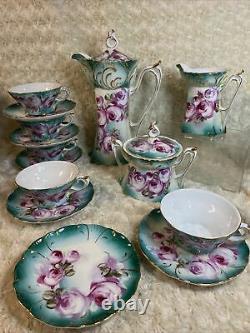 Limoges China Coffee / Tea Set 15 pcs Pink Floral Design Porcelain EUC