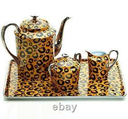 Limoges Sophie Villepigue Coffee Tea Set, Platinum, Leopard Porcelain, 4p NEW