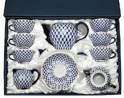 Lomonosov 35pc Large Dining Tea Cup Set Russian Saint Petersburg Cobalt Blue Net