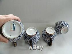 Lomonosov Cobalt Net Russian Flow Blue Porcelain Tea Set withGold Gilt 22 Pieces
