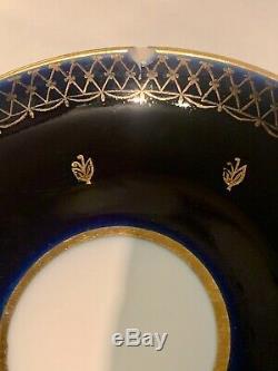 Lomonosov Porcelain Tea Set, 15 Pieces, Cobalt Blue with 22 Karat Gold, USSR