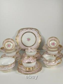 Lovely Windsor Bone China Pink, Gilded Tea Set With Pink Roses