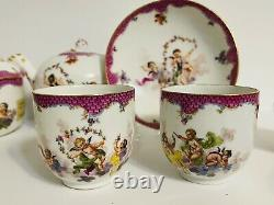 MEISSEN PUCE-SCALE PORCELAIN TEA AND COFFEE SET Circa 1775