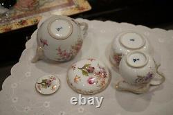 Meissen Crossed Swords Gilded Floral Tea Set Teapot, Creamer & Sugar Bowl Rare