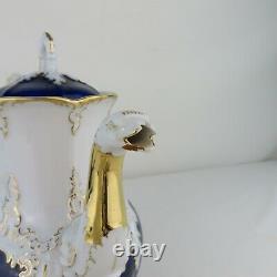 Meissen Porcelain Cobalt Blue & Gold 5 Piece Tea Set Tray Cream Sugar Antique