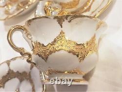 Meissen Porcelain Demitasse Tea Set 17 Pc Dragon Spout Rococo Gold Encrusted