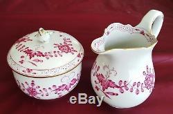 Meissen Porcelain Purple Indian Rose Paint 23 Pc Mocha Tea Dessert Set Svc/6