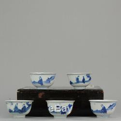 Ming SET Tea Chinese 1600-1640 Porcelain China Bowl Calligraphy Figures Marked
