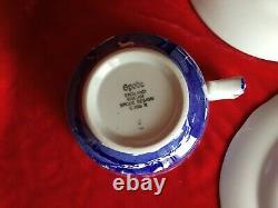 Mint Vintage Spode Blue Italian Rimmed Set of 12 Tea Cup Trios