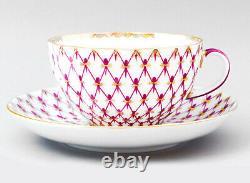 Net Blues 20 pc Tea Set for 6 Persons by Imperial Porcelain Lomonosov LFZ, Pink