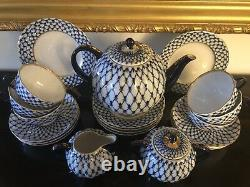 New Russian Imperial Lomonosov Porcelain Tea Set 6/21 Cobalt Net