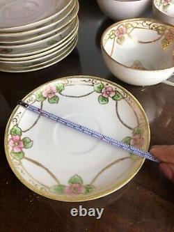 Noritake Hand Painted Moriage Nippon Porcelain Tea Set Morimura Import c1911