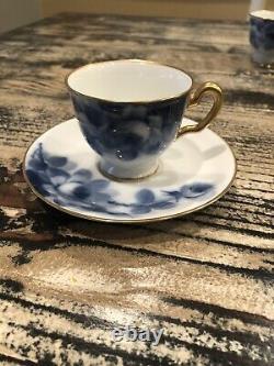 Okura Art Japan Porcelain BLUE ROSE Tea Set