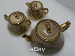 Outstanding Antique Japanese Satsuma Porcelain Hand-Painted Tea Set Lot, Marked
