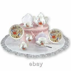 Peter Rabbit Children's Porcelain Tea Service/Set Hatbox-2 Settings-Reutter