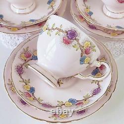 Pink floral Tuscan teaset for five. Cake plate, teacup trios milk jug sugar bowl