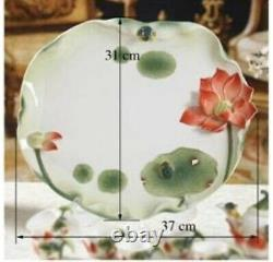 Porcelain Frog And Lotus Handpainted Tea Pot with 6 Cups And Tray