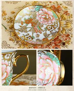Porcelain Tea Set Teapot Sugar Bowl Creamer Cups & Saucers Metal Holder 18 Pcs