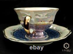 Porcelain tea set, antique, with gold painting, 15 pieces