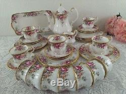 Queen Anne Summer Rose Fine Bone China England Tea/Coffee Set vintage Porcelain