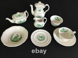 RARE Copeland Spode Mini Childs Breakfast Tea/Coffee Set Gadroon/Green Bird