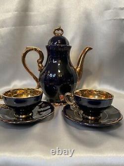 RARE MidCent German Deep Cobalt Blue & 22k Gold Porcelain Tea Set