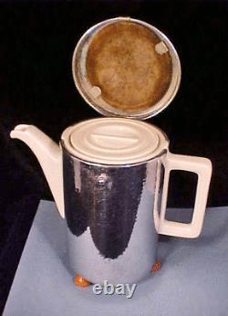 RARE SILVER 4-Pc Pre-War GERMAN WMF HUTSCHENREUTHER Porcelain TEA SET