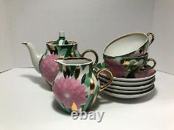 RARE Vintage USSR/Russian porcelain tea set pink flowers 24KT Dulevo 9 pieces