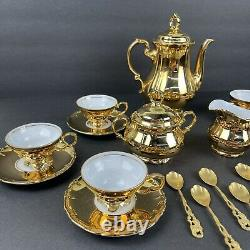 RRW Bavaria 23 Pc Gold Porcelain Tea Set Made In Germany Pot Saucers Cups Spoons