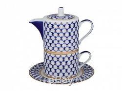 RUSSIAN Imperial Lomonosov Porcelain Set Tea Cup, Saucer, Teapot Cobalt Net Gold
