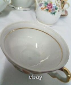 Rare Bavaria Germany Porcelain Tea Set Floral Spray With Gold Overlay Porzellan