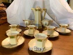 Rare Exquisite Vintage T&V Limoges Porcelain Art Deco Teaset for 6