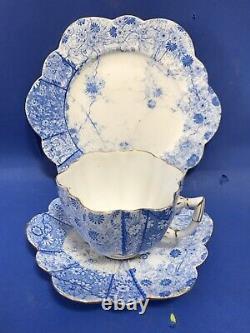 Rare Wileman Foley Jungle Print Pattern Daisy Shape Trio Tea Cup Set Shelley