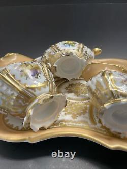 Rare antique Old Paris Tea pot Teapot Set Floral Peach gold France Porcelain