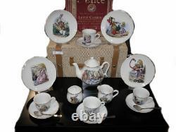 Reutter Porcelain Alice in Wonderland Miniature Tea Set in Picnic Basket
