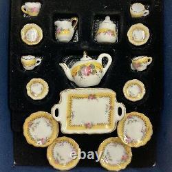 Reutter Porcelain Miniature Dollhouse French Rose Tea Set AND Dinner Set 112