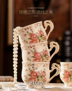 Rose Pattern Porcelain Tea Coffee Set Teapot Sugar Bowl Creamer Cups Tray 8 Pcs0