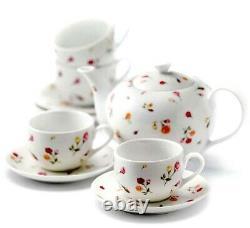 Royal Albert Country Rose Buds Tea Set 9 Piece Teapot 4 Cups & 4 Saucers New