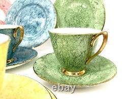 Royal Albert Harlequin Coloured Gossamer Tea Set for 6 People / Trio Cup Vintage