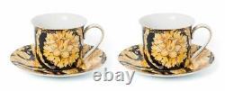 Royalty Porcelain 12-pc Luxury Floral Black Tea or Coffee Cup Set, 24K Gold