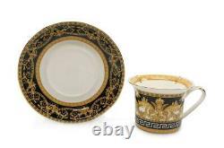 Royalty Porcelain 12-pc Tea or Coffee Set for 6 Maskarone, Bone China (Black)