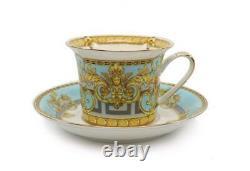 Royalty Porcelain 12-pc Tea or Coffee Set for 6 Maskarone, Bone China (Blue)