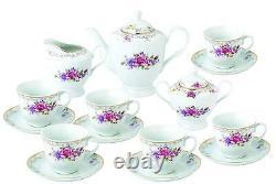 Royalty Porcelain 17-pc Tea Set English Roses For 6, Bone China Porcelain