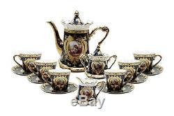 Royalty Porcelain 17pc Cobalt Blue Tea set'Second Date' Flower Print Tableware