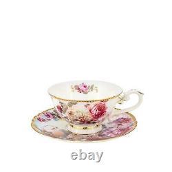 Royalty Porcelain 24-pc Pink Tea or Cake Set'Austin Roses' For 6, Bone China