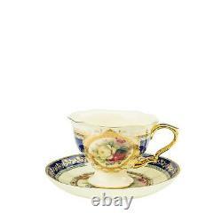 Royalty Porcelain 24-pc Tea Cake Set'Britten' For 6 Bone China Porcelain (Blue)