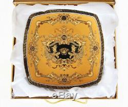 Royalty Porcelain 9-pc Yellow Cake Dessert Set for Tea or Coffee, Luxury Medusa