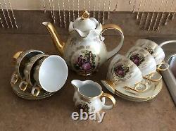 Royalty Porcelain MADONNA Pattern White/Gold 24K Tea set of 6 Japan