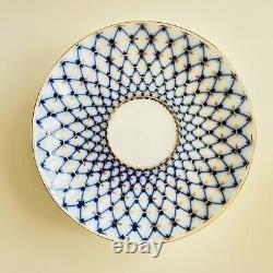 Russian Cobalt Mesh Tea Set Imperial Porcelain LFZ 22K Gold Lomonosov